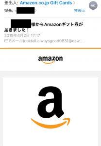 Amazonギフト券からのメール1