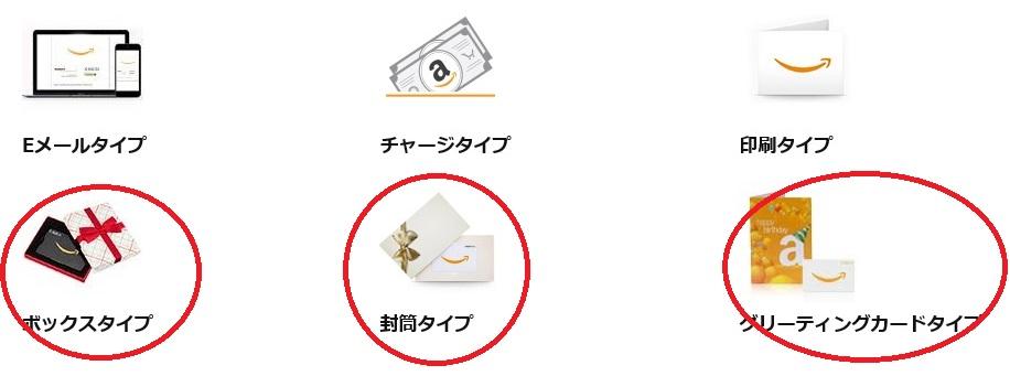 Amazonギフト券のタイプ