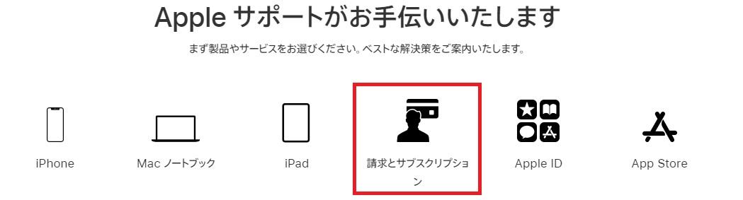 Appleサポートお問い合わせ手順1